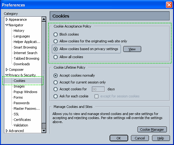 Netscape configuration dialog