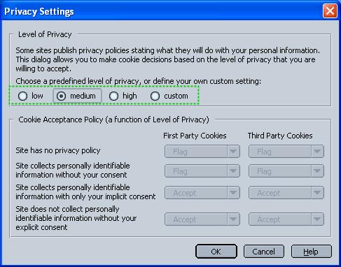 Netscape configuration dialog