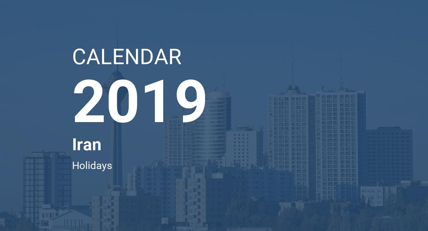 Year 2019 Calendar Iran