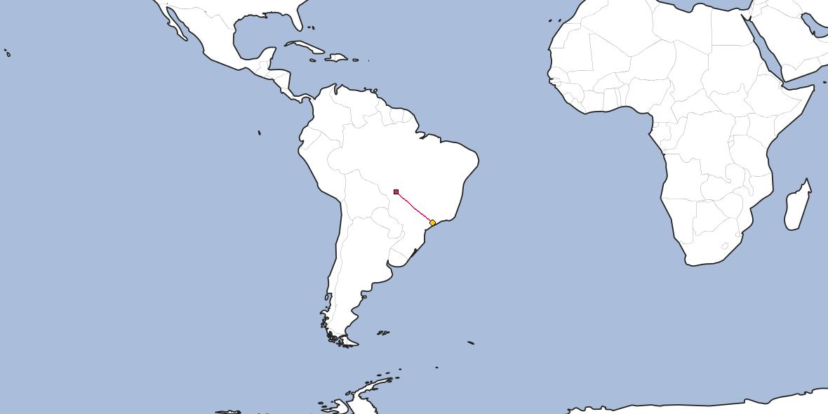 Map – Shortest path between Cuiabá and São Paulo