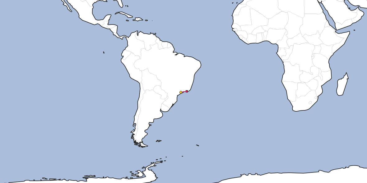 Map – Shortest path between Rio de Janeiro and Guarulhos