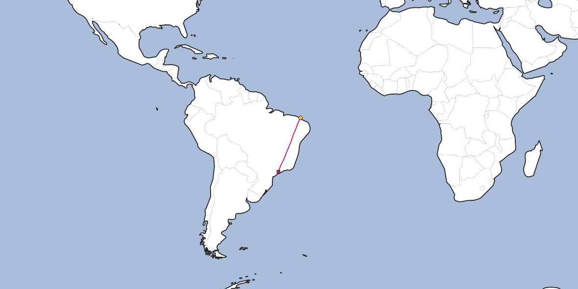 Map – Shortest path between Guarulhos and Fortaleza