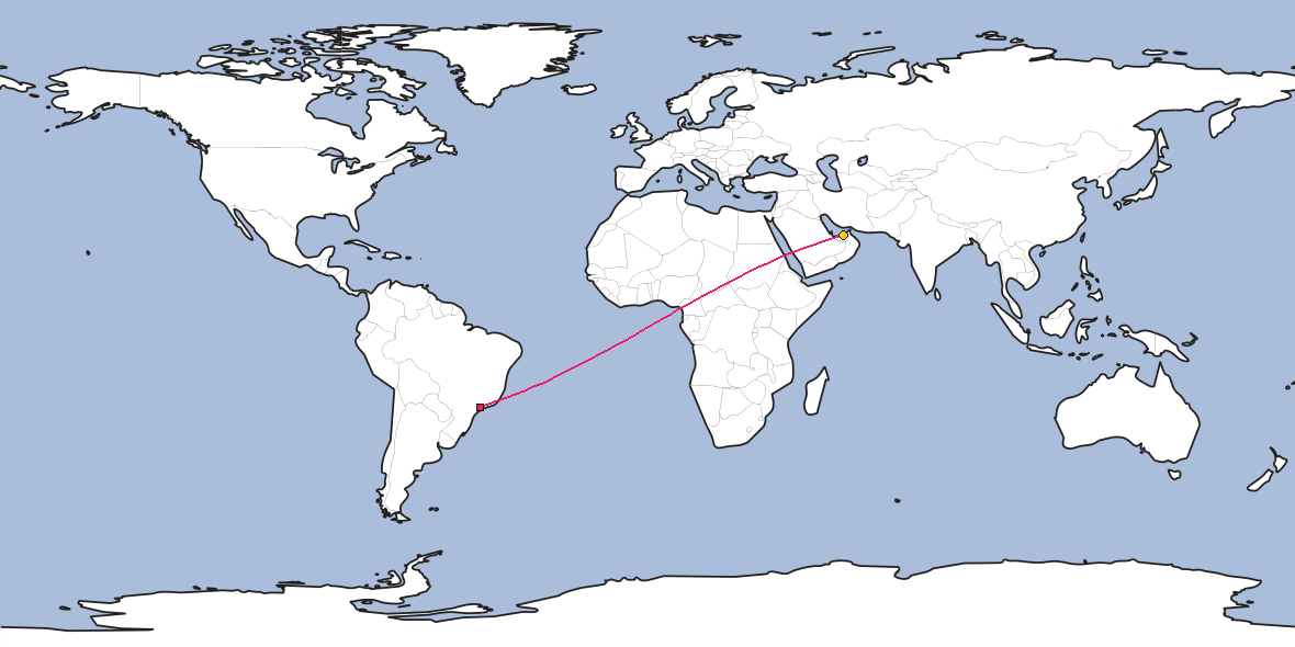 Map – Shortest path between Guarulhos and Abu Dhabi