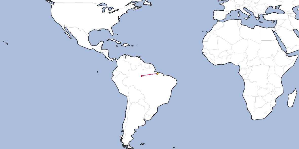 Map – Shortest path between Manaus and Belém