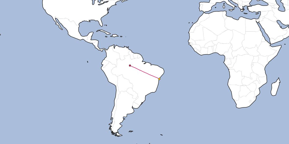 Map – Shortest path between Manaus and Salvador
