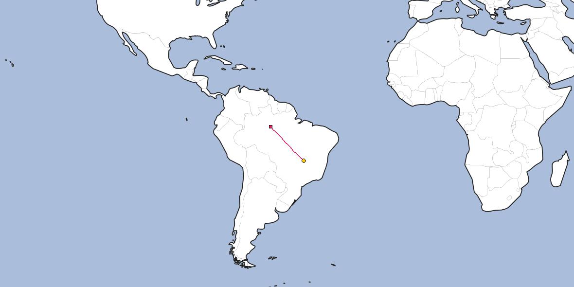 Map – Shortest path between Manaus and Brasilia