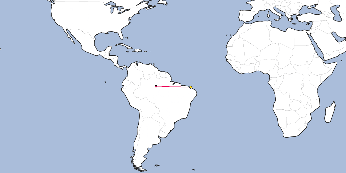 Map - Shortest path between Manaus and Fortaleza
