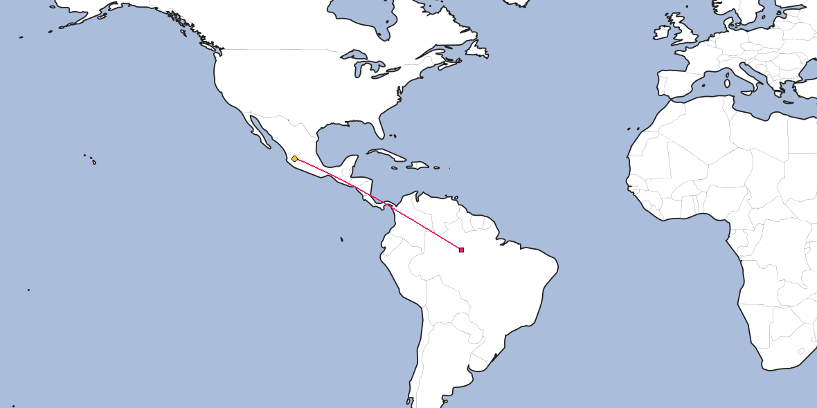 Map – Shortest path between Manaus and Guadalajara