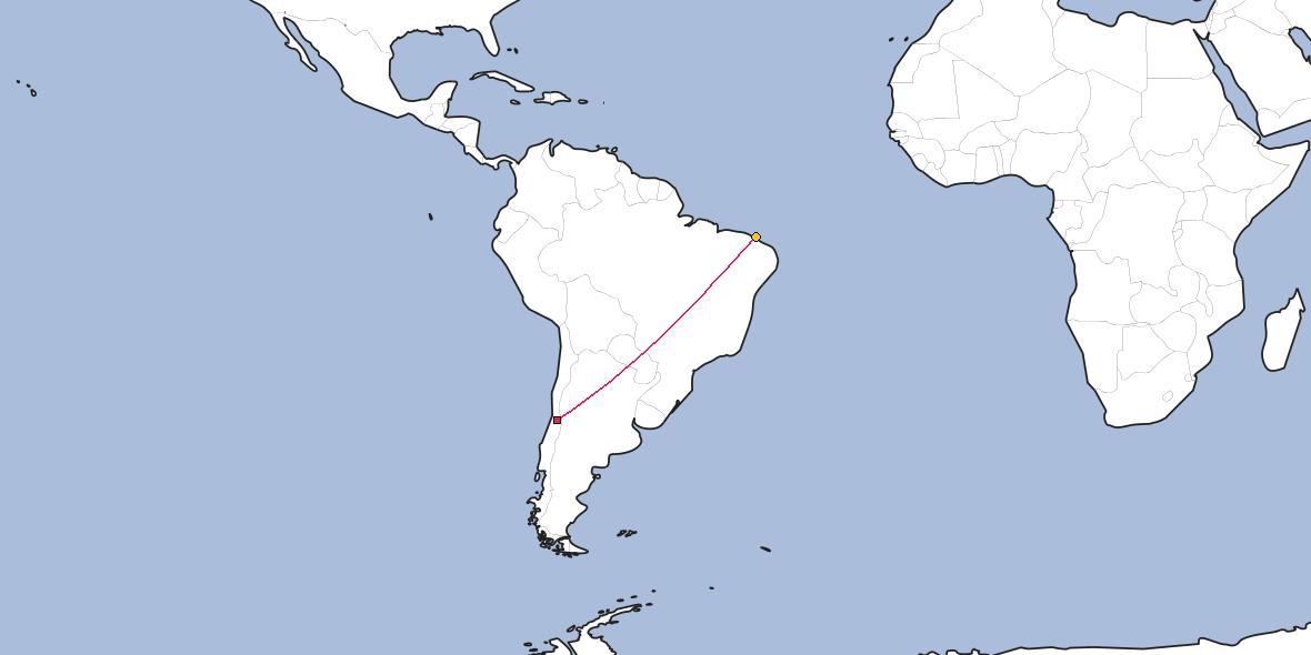 Map – Shortest path between Santiago and Fortaleza