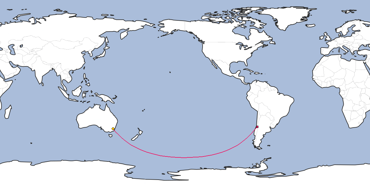 Map – Shortest path between Santiago and Canberra