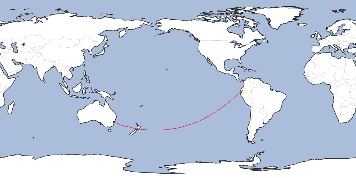 Map – Shortest path between Sydney and Guayaquil