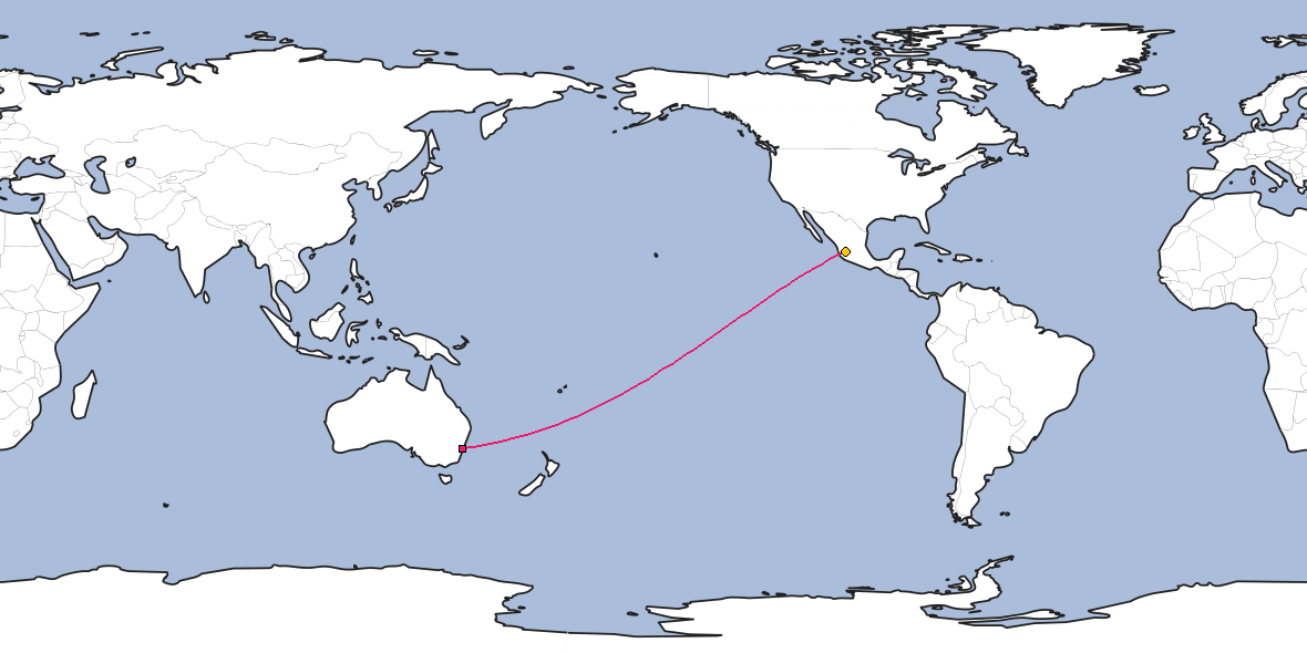 Map – Shortest path between Sydney and Guadalajara