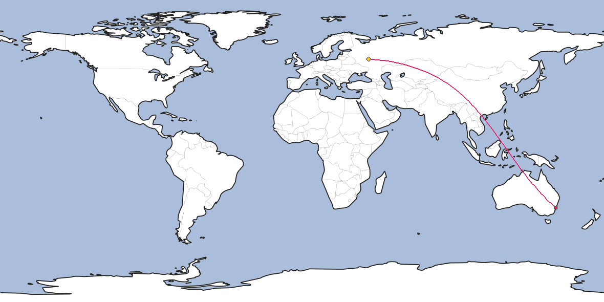 Map – Shortest path between Sydney and Ryazan