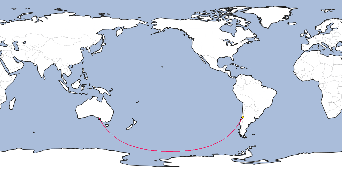 Map – Shortest path between Adelaide and Santiago