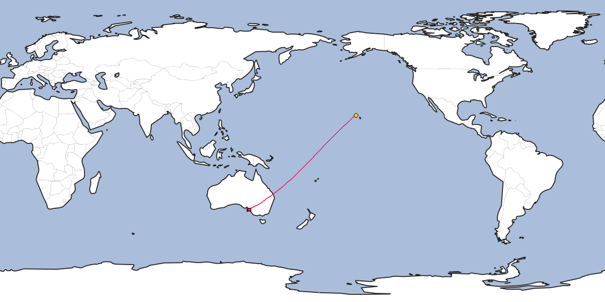 Map – Shortest path between Adelaide and Honolulu
