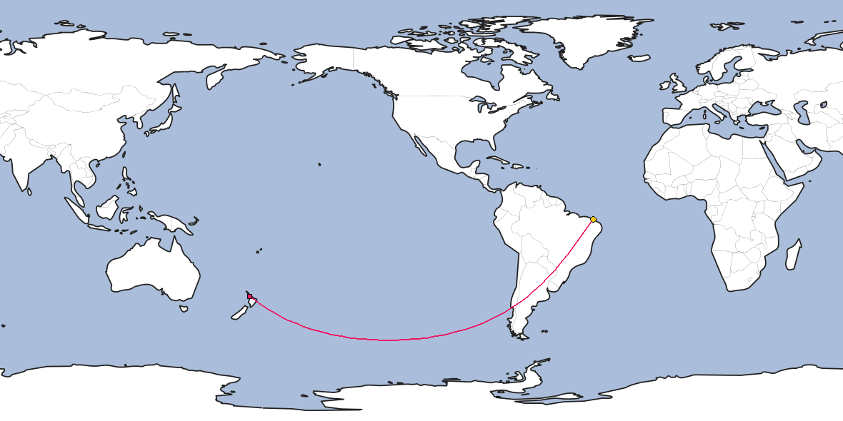 Map – Shortest path between Auckland and Fortaleza