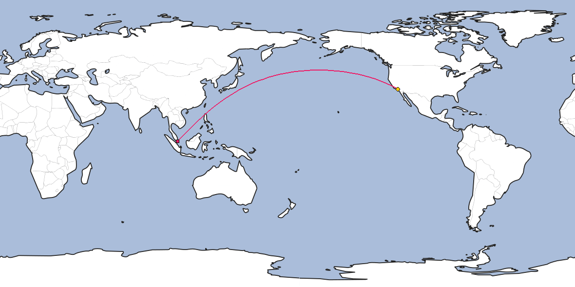Map – Shortest path between Singapore and Los Angeles