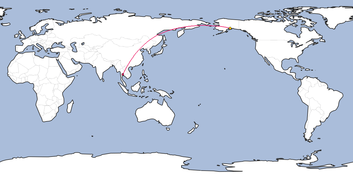 Map – Shortest path between Bangkok and Anchorage