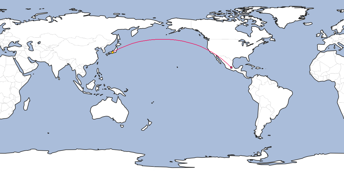 Map – Shortest path between Mexico City and Nagoya