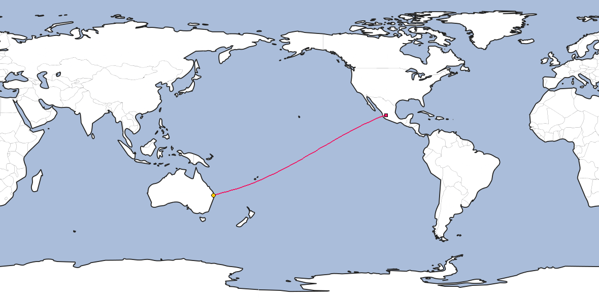 Map – Shortest path between Guadalajara and Brisbane