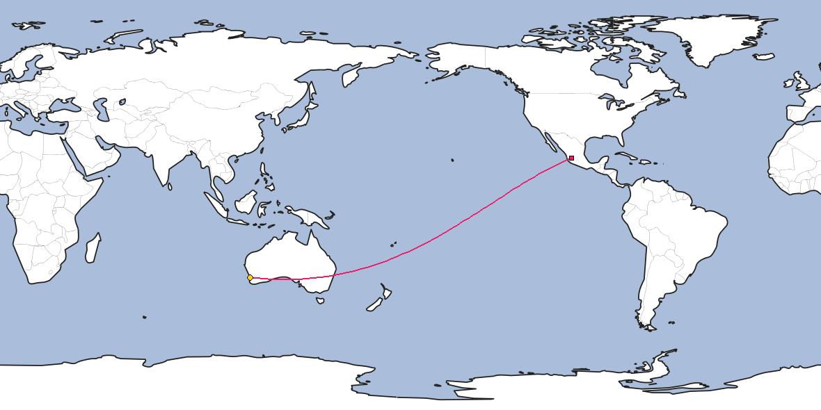 Map – Shortest path between Guadalajara and Perth