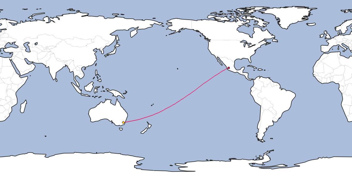 Map – Shortest path between Guadalajara and Canberra