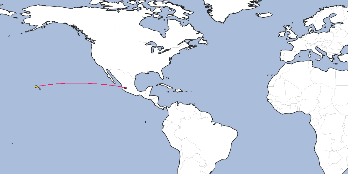 Map – Shortest path between Guadalajara and Honolulu