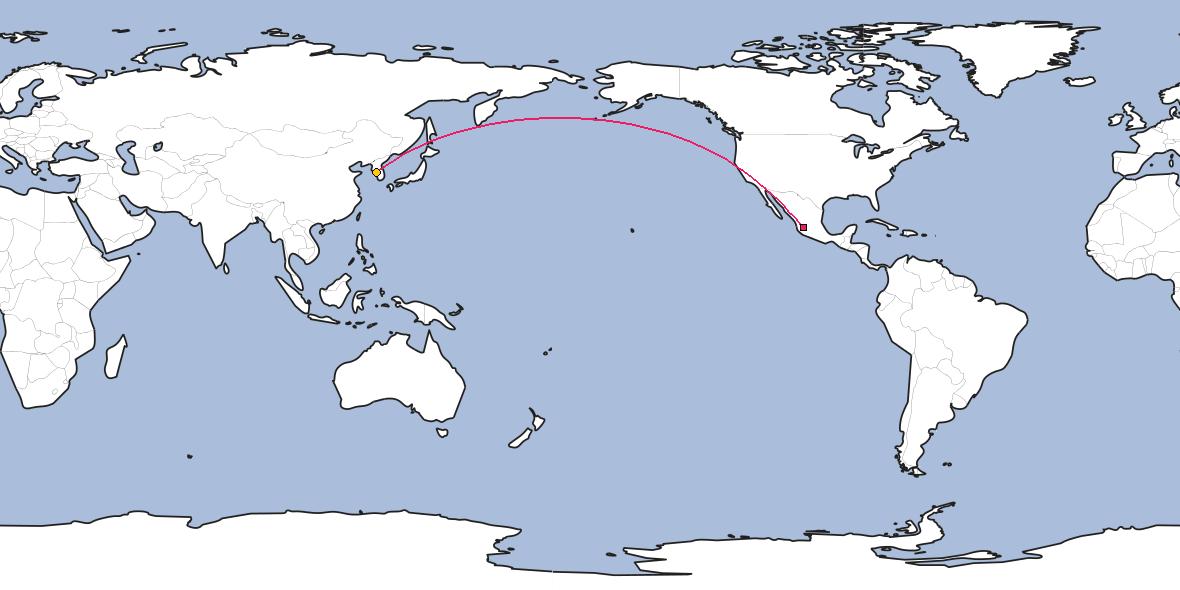 Map – Shortest path between Guadalajara and Incheon