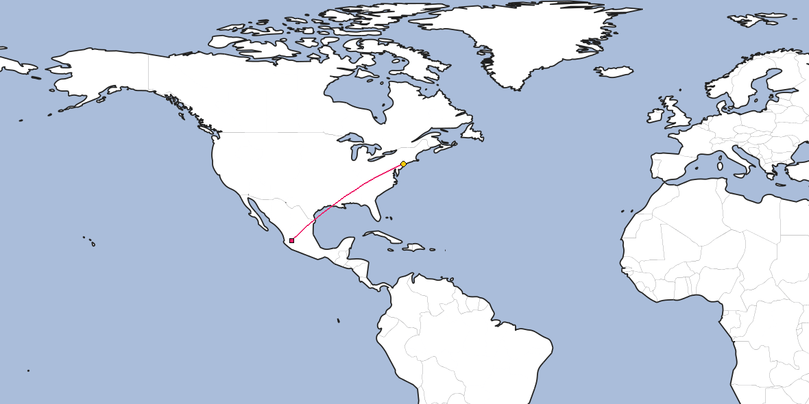 Map – Shortest path between Guadalajara and New York