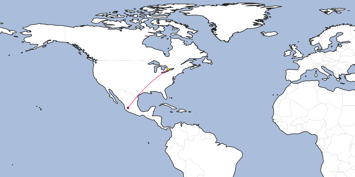 Map – Shortest path between Guadalajara and Toronto