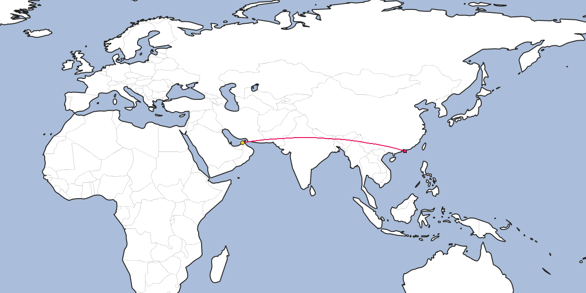 Map – Shortest path between Hong Kong and Dubai