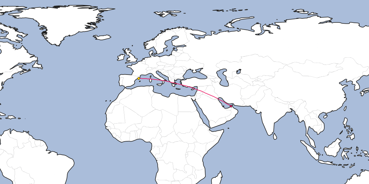 Map – Shortest path between Dubai and Barcelona