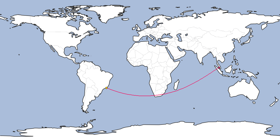 Map – Shortest path between Kuala Lumpur and Rio de Janeiro