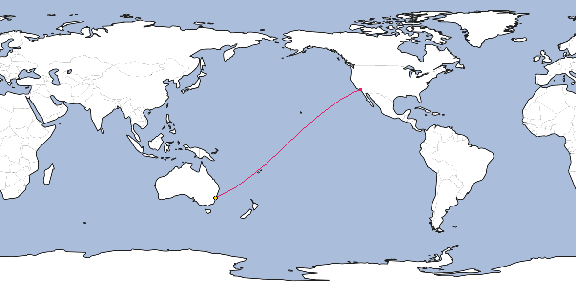 Map – Shortest path between Los Angeles and Sydney