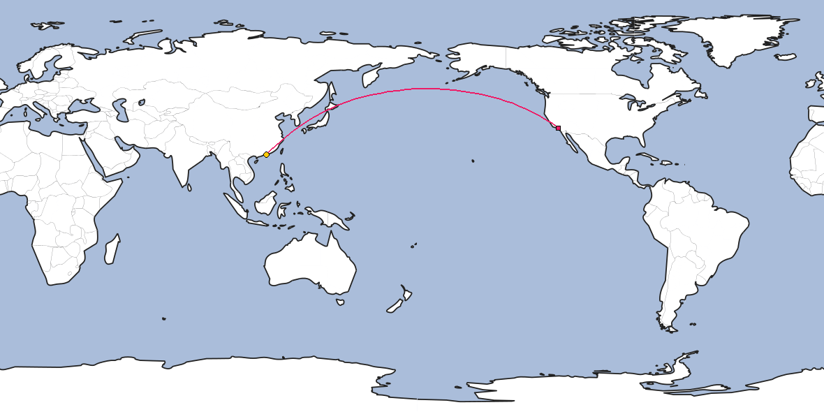 Map – Shortest path between Los Angeles and Hong Kong