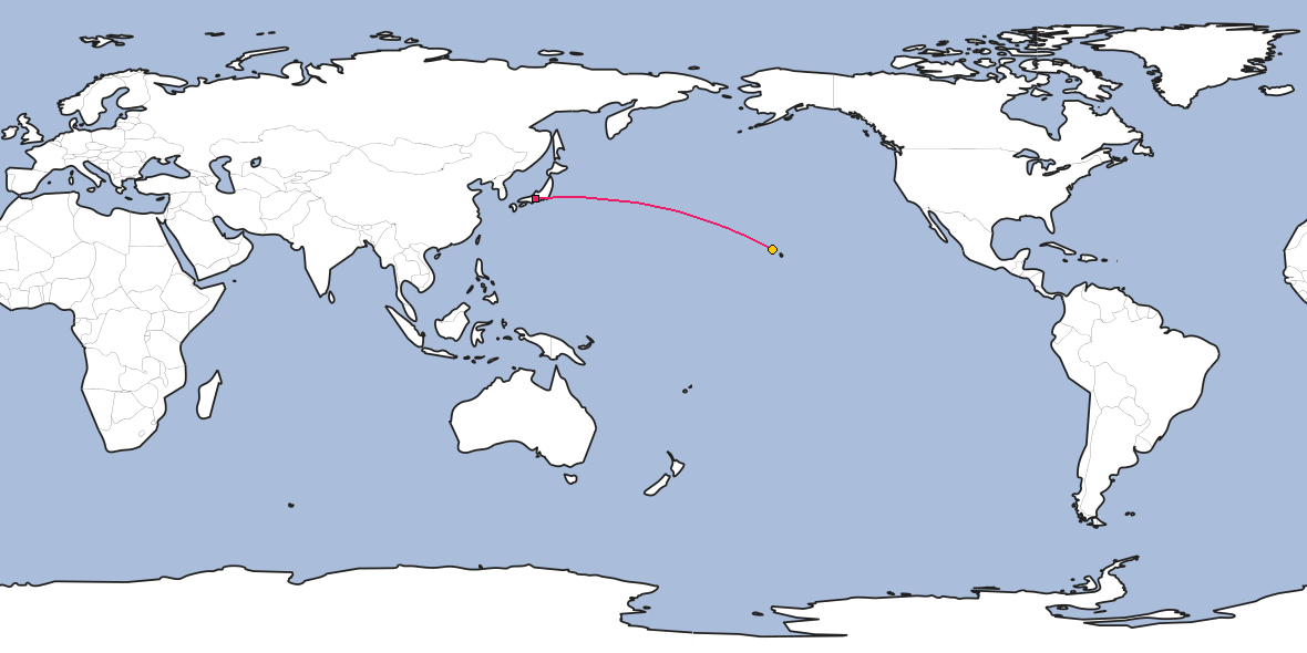 Map – Shortest path between Nagoya and Honolulu