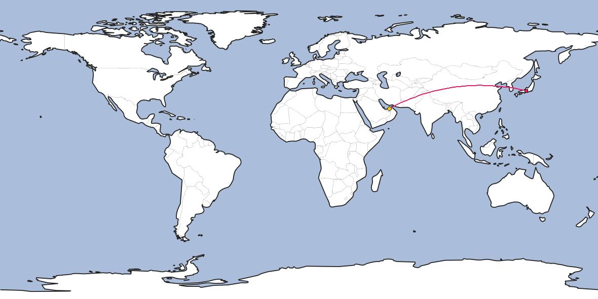 Map – Shortest path between Nagoya and Abu Dhabi