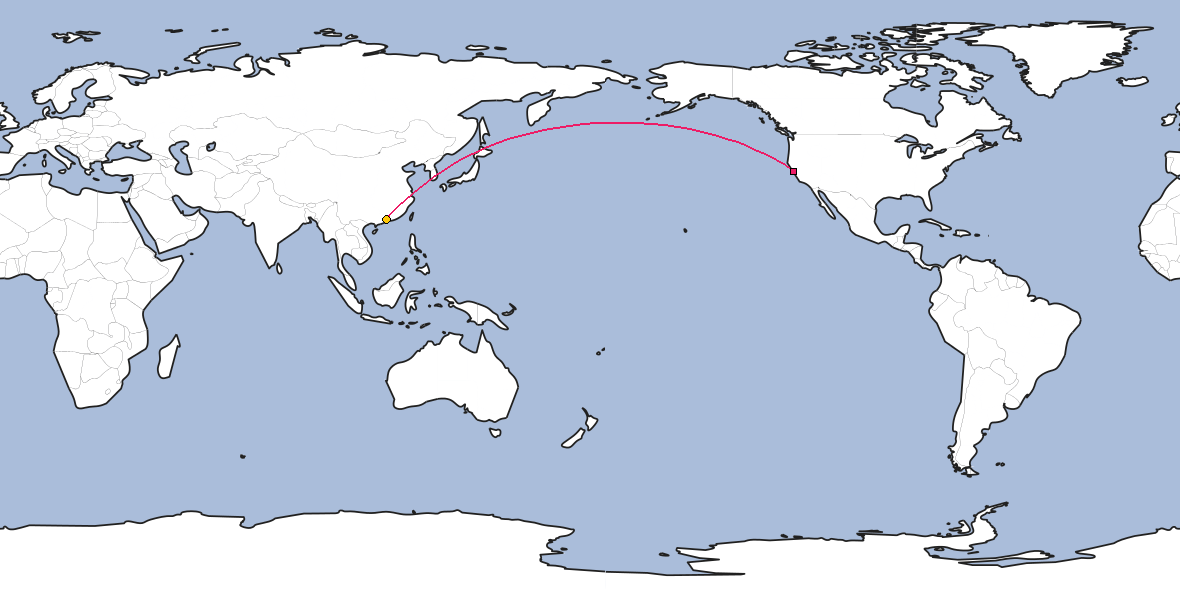 Map – Shortest path between San Francisco and Guangzhou