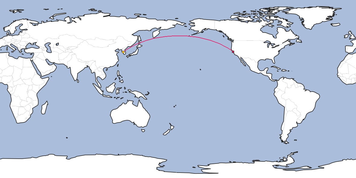 Map – Shortest path between San Francisco and Incheon