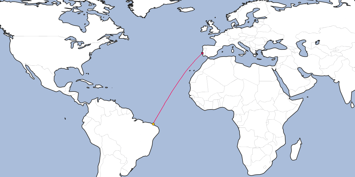 Map – Shortest path between Lisbon and Fortaleza