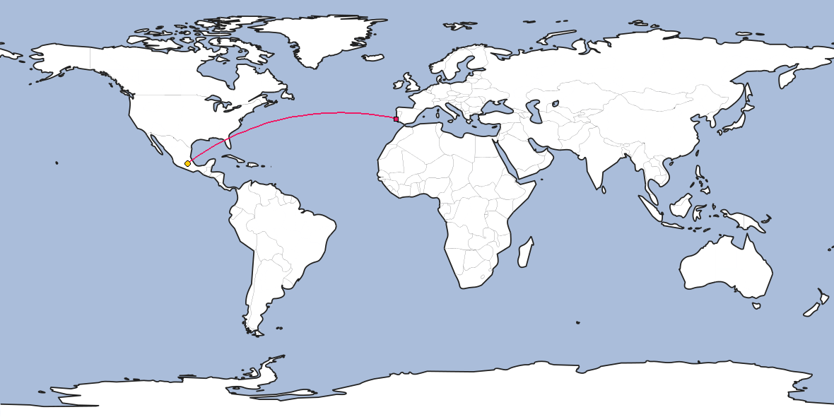 Map – Shortest path between Lisbon and Mexico City