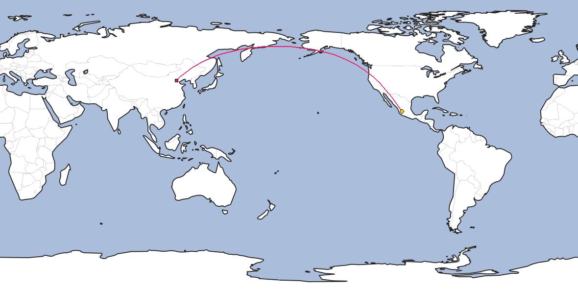Map – Shortest path between Beijing and Guadalajara