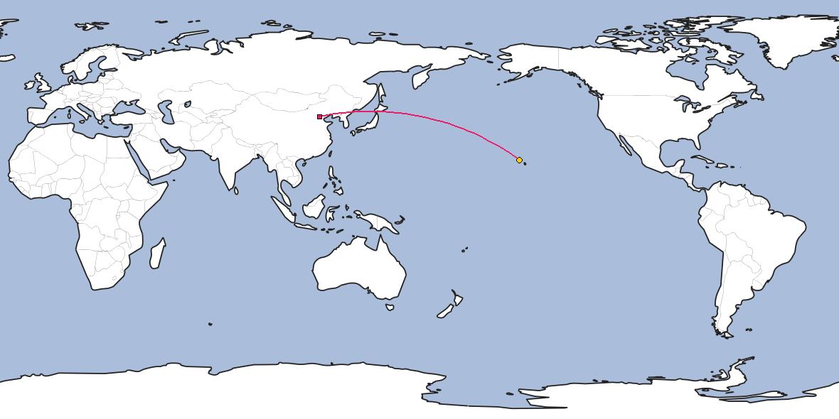 Map – Shortest path between Beijing and Honolulu