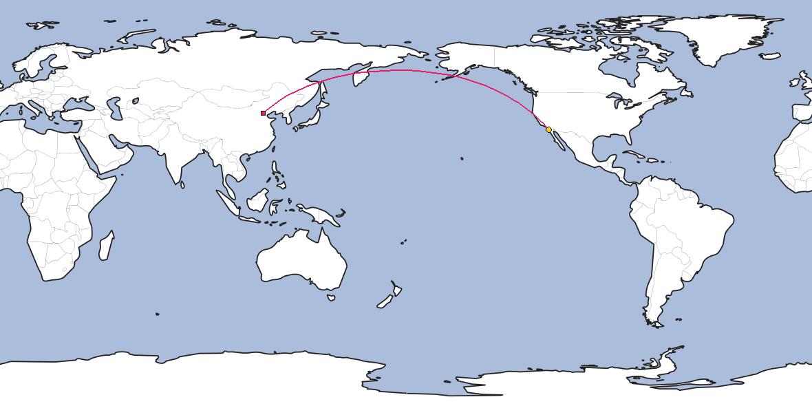 Map – Shortest path between Beijing and Tijuana