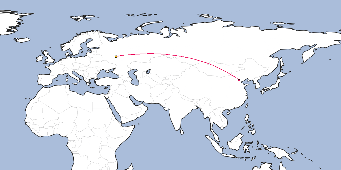 Map – Shortest path between Beijing and Ryazan