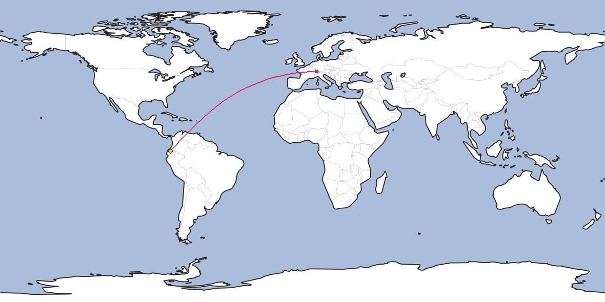 Map – Shortest path between Zürich and Quito