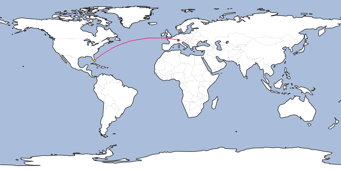 Map – Shortest path between Zürich and Miami