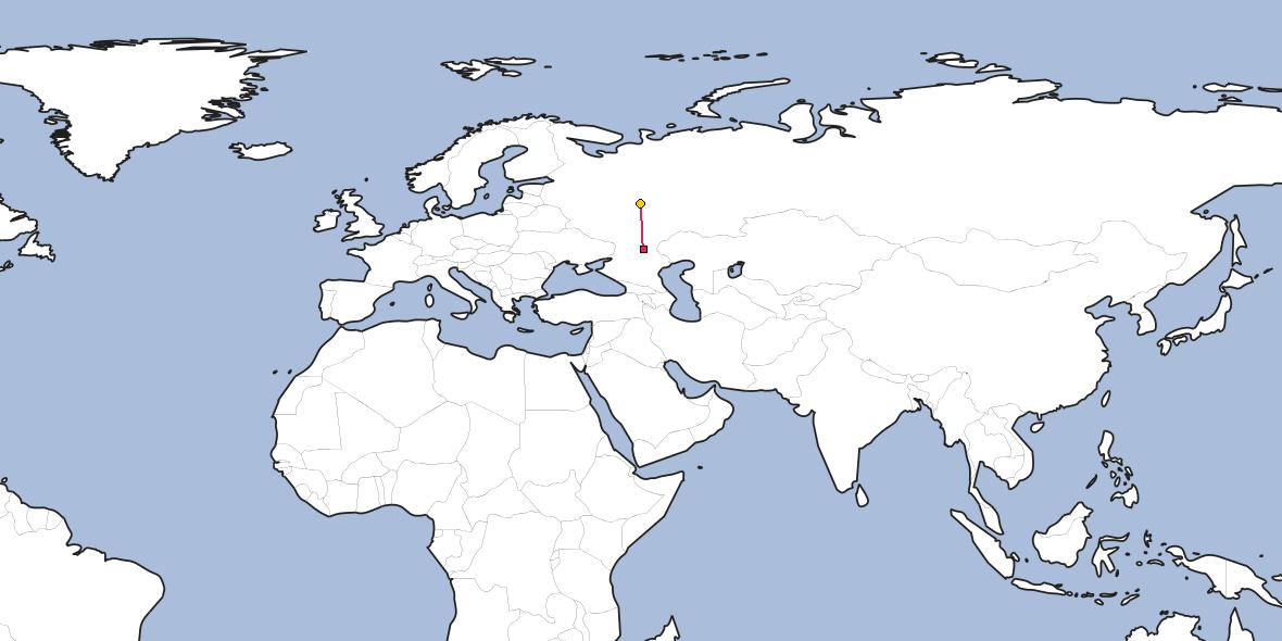 Map – Shortest path between Volgograd and Nizhny Novgorod