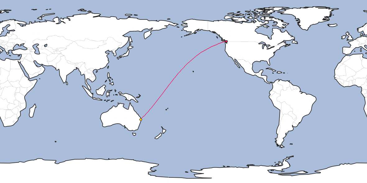 Map – Shortest path between Vancouver and Brisbane