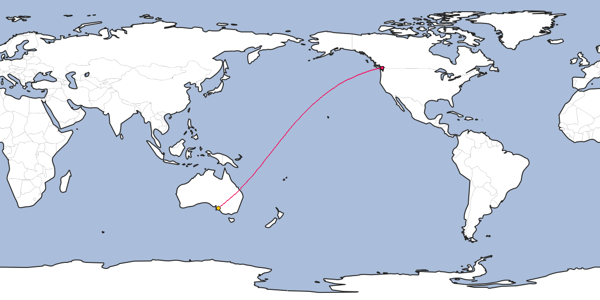 Map – Shortest path between Vancouver and Adelaide